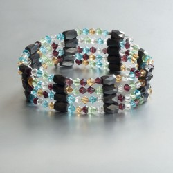 3-in-1 armband / enkelband / collier multicolour zirkonia