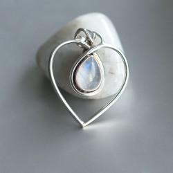 Regenboog Maansteen hart hanger zilver 925
