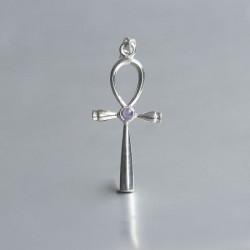 Ankh symbool hanger Amethyst zilver 925