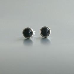 Onyx oorstekers zilver 925 (model S7-003)