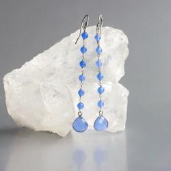 Chalcedoon blauw oorhangers zilver 925 (model E5-026)