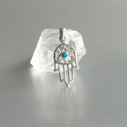 Turkoois symbool hanger Hand van Fatima zilver