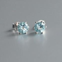 Blauwe Topaas oorstekers zilver 925 (model E9-005)