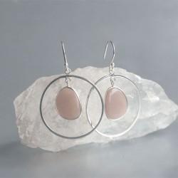 Roze Maansteen oorhangers 925 zilver
