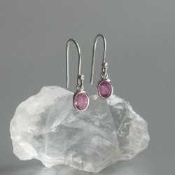 Roze toermalijn oorhangers 925 zilver