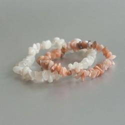 Witte & roze Maansteen armbanden set