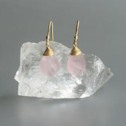 Rozenkwarts oorhangers goud op zilver 925 (model E5g-037)