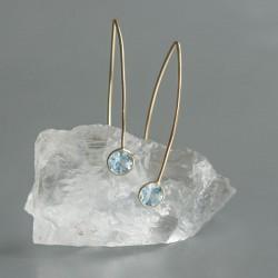 Blauwe Topaas oorhangers goud op zilver 925 (model E5g-077)