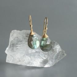 Labradoriet oorhangers goud op zilver 925 (model E5g-037)