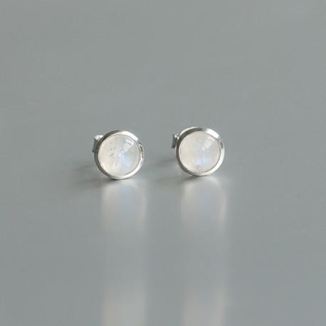 Regenboog Maansteen oorstekers 925 zilver (model S7-003)