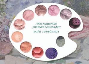 100% natuurlijke minerale oogschaduw roze & paarse tinten